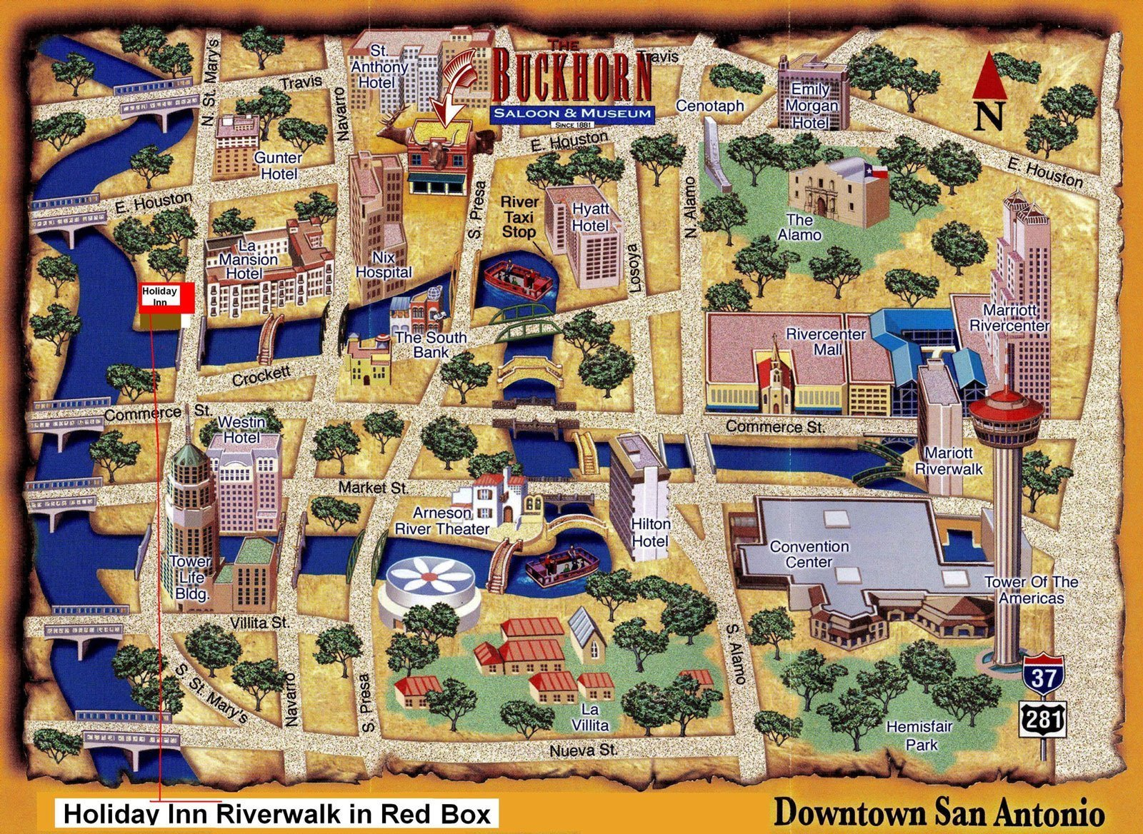 Map of Downtown San Antonio, Texas